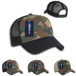 DECKY Curved Bill Camouflage Trucker Woodland Camo mesh snap