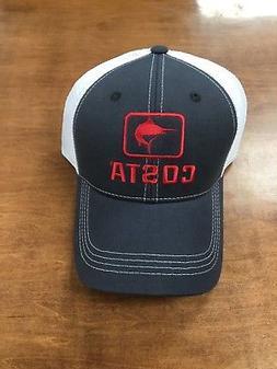 COSTA DEL MAR MARLIN XL TRUCKER HAT NAVY RED ADJUSTABLE  BRA