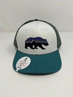 Patagonia Fitz Roy Bear Trucker Hat - White/Tasmanian Teal -