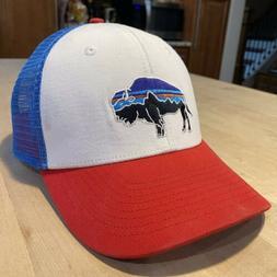 Patagonia Fitz Roy Bison Trucker Hat - Very Good - White Wit