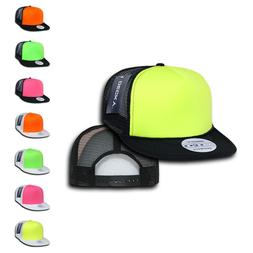Decky Flat Bill Neon Foam Mesh Trucker Hats Caps Snapback Tw
