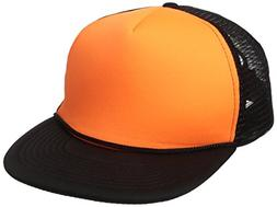 DECKY Flat Bill Neon Trucker Cap, Black/Neon Orange