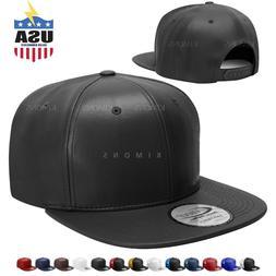 Flat Bill Premium Leather Snapback Hip Hop Baseball Cap Truc