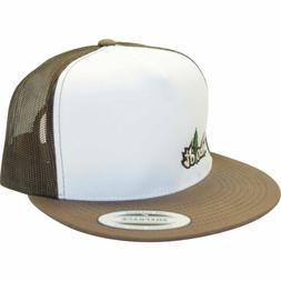 Flat Bill Small Treelogo Brown Snapback Hat Trucker Lid Mesh