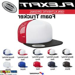 FLEXFIT Foam Trucker Mesh Hat Flat Bill with White Front OS