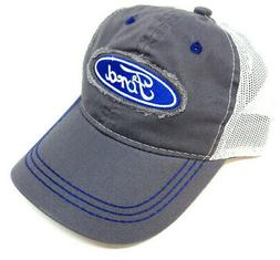 FORD LOGO GREY WHITE MESH TRUCKER ADJUSTABLE HAT CAP CURVED
