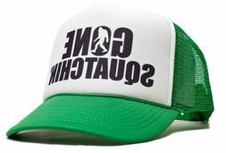 gone squatchin printed trucker cap hat kelly