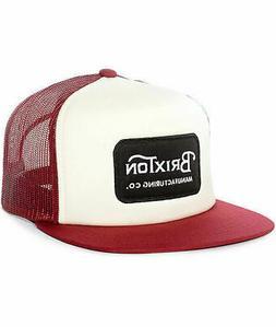 BRIXTON GRADE WHITE/BURGUNDY SNAPBACK TRUCKER HAT/CAP 100% A