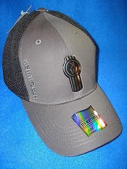 "KENWORTH HAT:  "" FITTED ""   BLACK /  GREY / LIQUID METAL CAP"