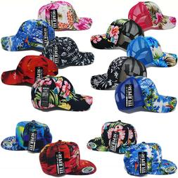 Hawaiian Hat Tropical Trucker Mesh Baseball Women Men Flower