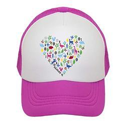 Heart on Kids Trucker Hat. The Kids Baseball Cap is Availabl