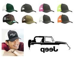 Jeep Wrangler 4x4 Color Outline Design Trucker Hat Cap