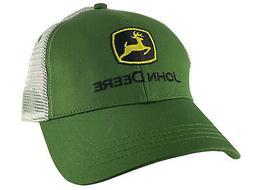 John Deere Adjustable Trucker Mesh Strap Hat, Green White