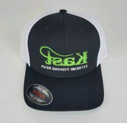Kast Extreme Fishing Gear Logo Trucker Hat Black White Mesh