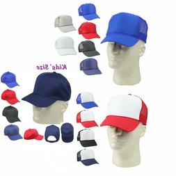 Kid's Trucker Hat Ball Cap Youth Caps Mesh Blank Plain Blue