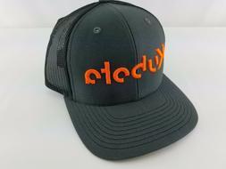 KUBOTA trucker hat charcoal Black CAP HAT Neon Orange Embroi