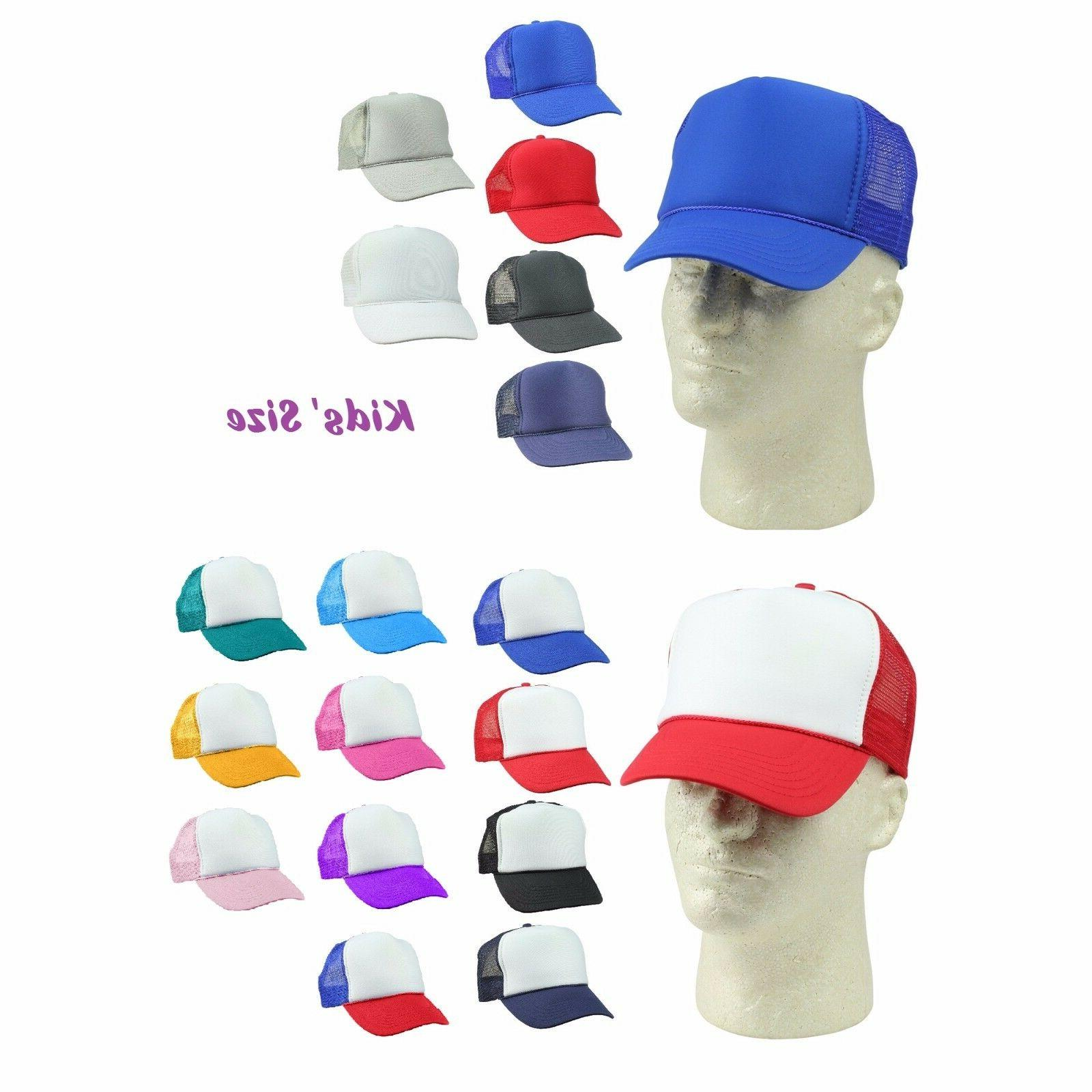 1 DOZEN Blank Youth Trucker Hat Ball Cap Mesh Kids Red Blue