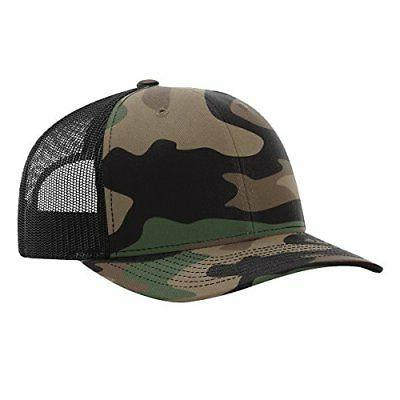 112P GREEN CAMO/BLACK Structured Snap Back Trucker Hat Baseb