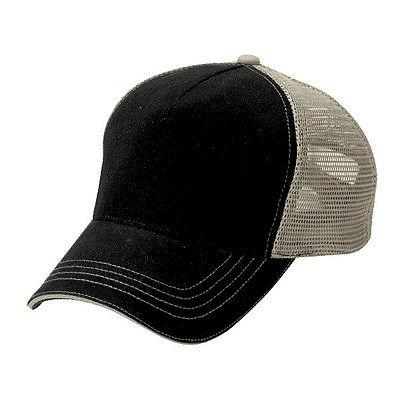 12   Blank Trucker Hats Black Cotton Front Khaki Mesh Super