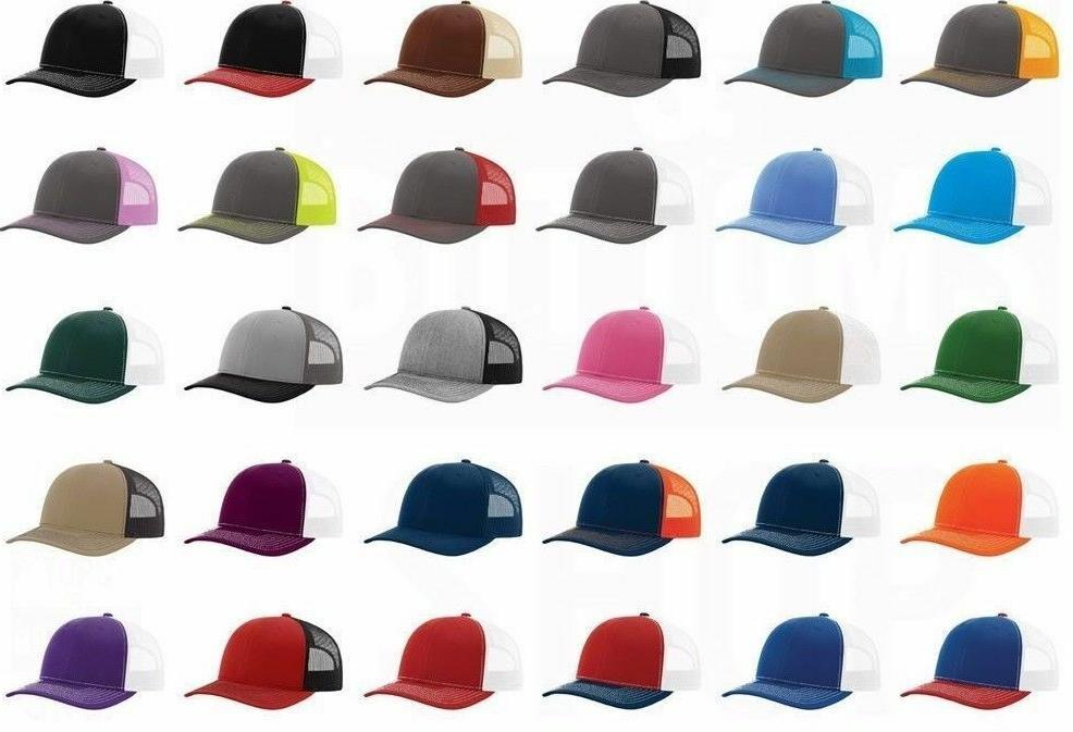 12 Custom Logo Richardson Trucker Snapback Meshback Hat Base