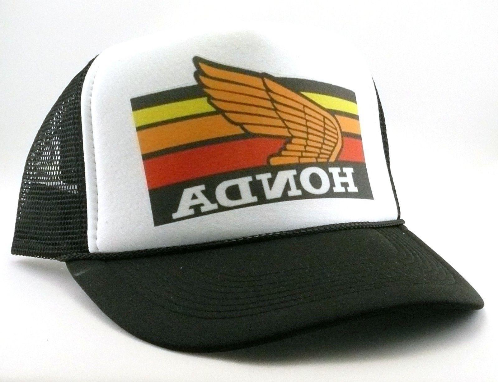 1980's Honda motocross Trucker Hat mesh hat snap back hat bl