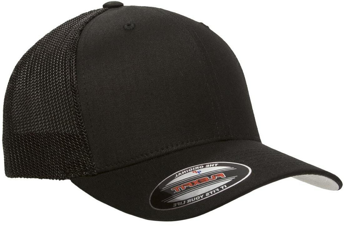 6511 black fitted trucker mesh hat size