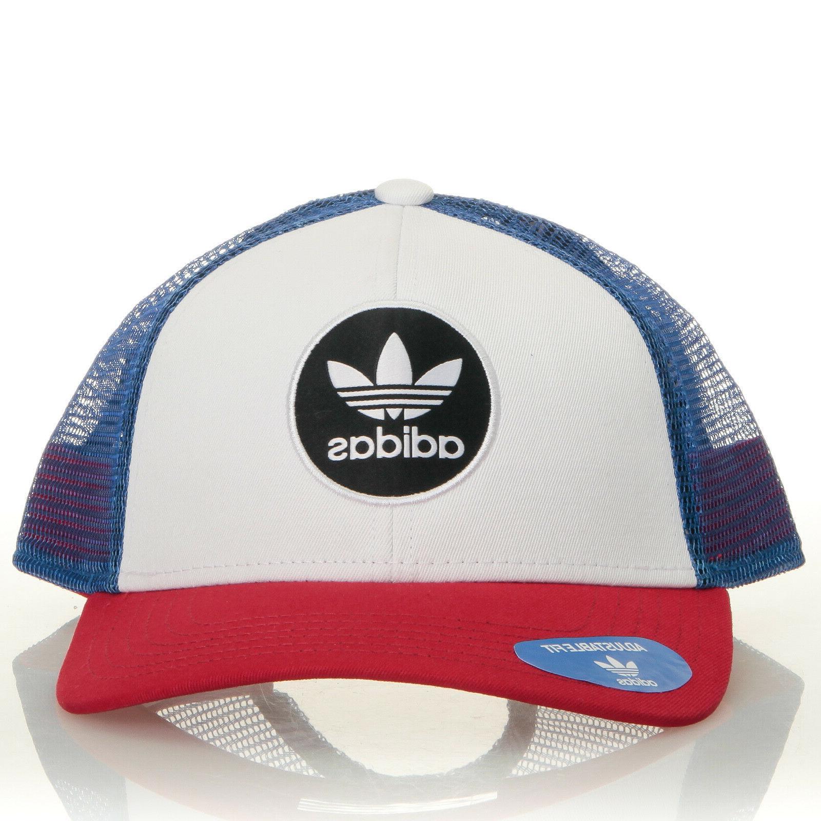Adidas Originals OG Circle Red Blue Trucker Hat