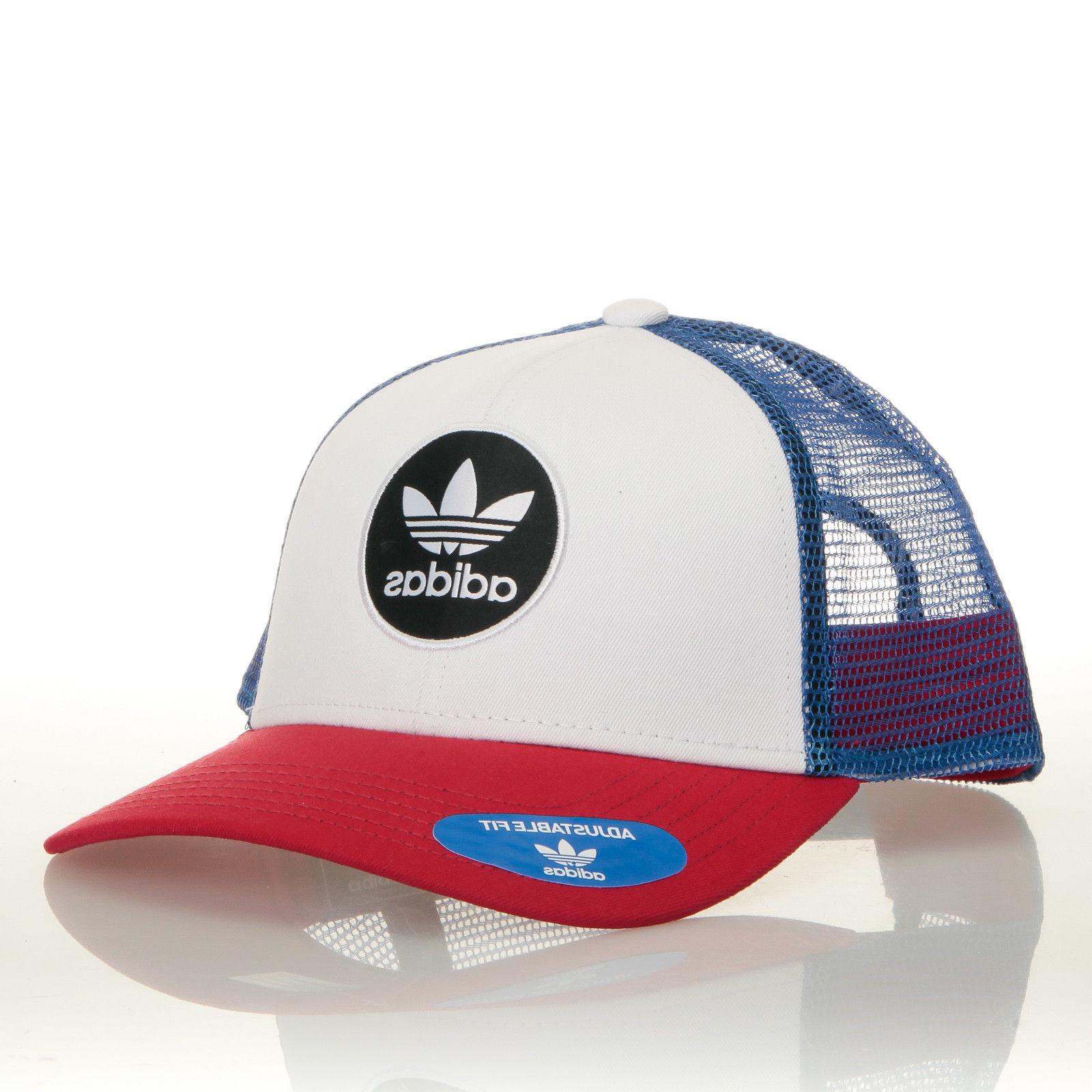 Adidas Originals OG Circle Red White Blue Trucker Hat Cap - f72918a25d33