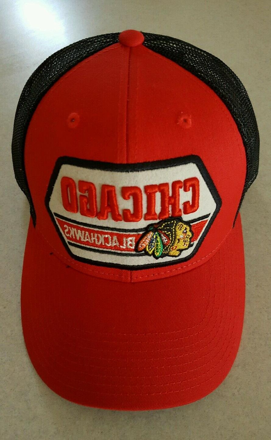 Adult CCM Chigao Blackhawks Snap Back Trucker Hat Cap Mesh B