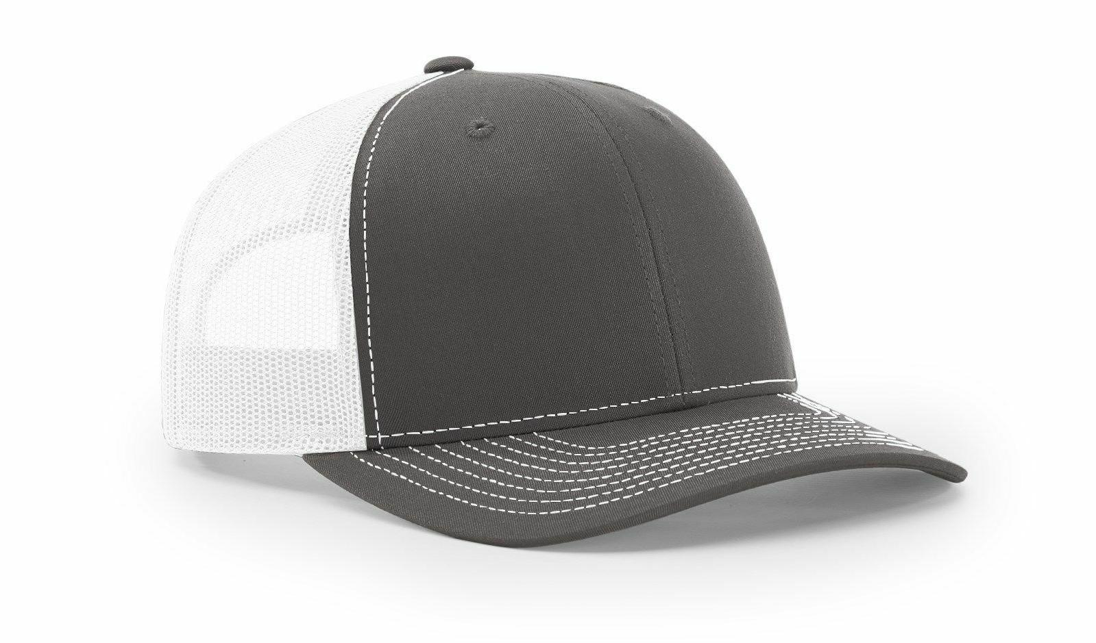 CHARCOAL WHITE 112 Richardson Trucker Ball Cap Mesh Hat Adju