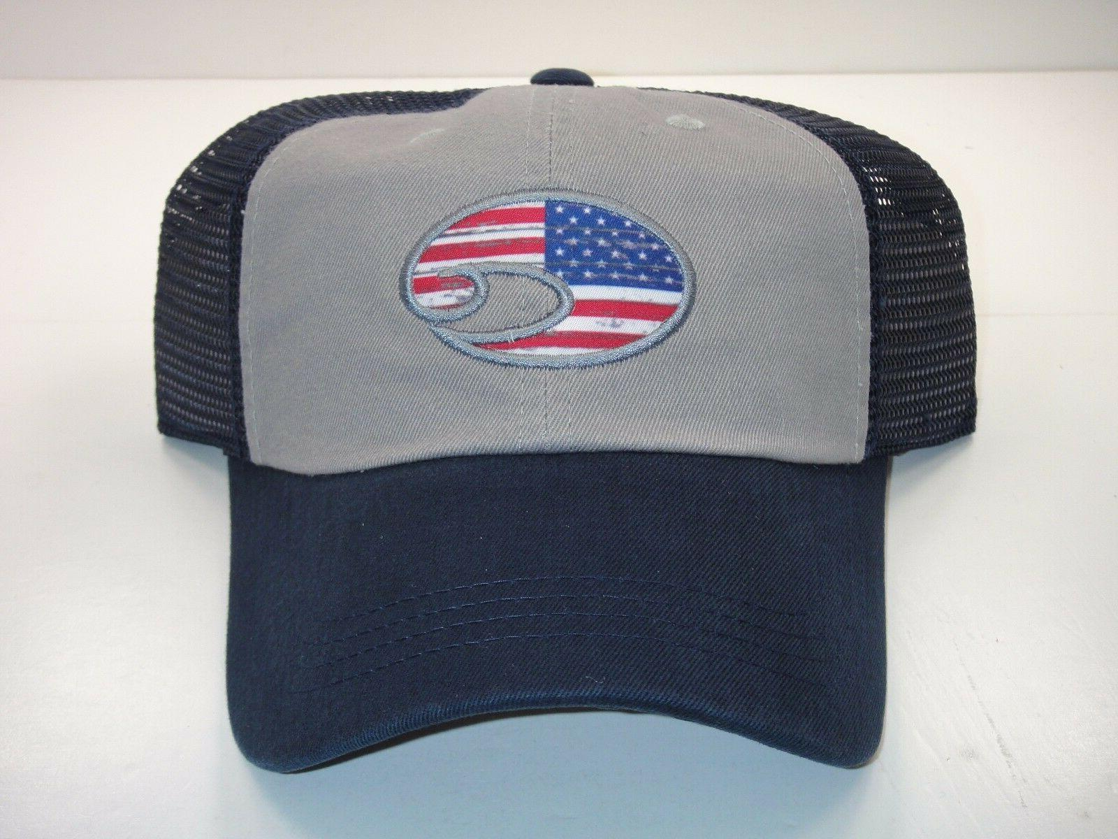 COSTA DEL MAR USA FLAG UNITED TRUCKER ADJUSTABLE MESH HAT NA