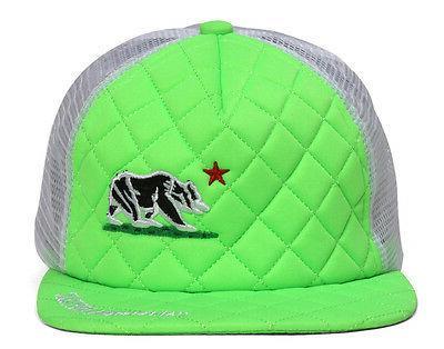 California Republic Bear Quilted Neon Green/White Trucker Ha