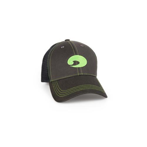 Costa Del Mar NEON Trucker Hat GRAPHITE GREEN Velcro Closure