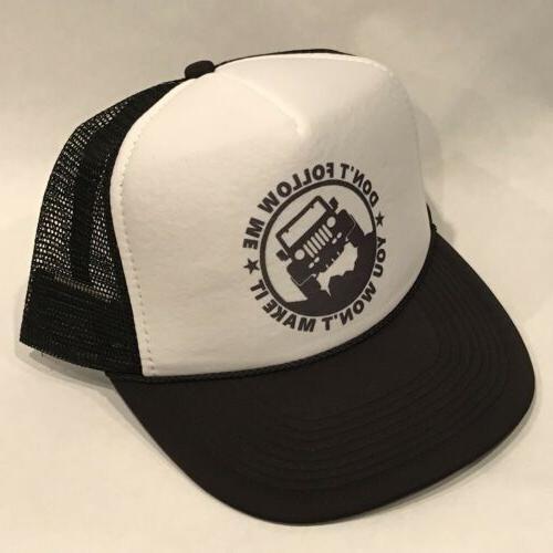 Dont Follow Me Jeep Trucker Hat Vintage Snapback Wrangler YJ