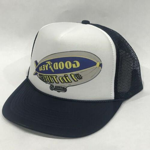 Good Year Tires Blimp Promo Trucker Hat Vintage 80's Mesh
