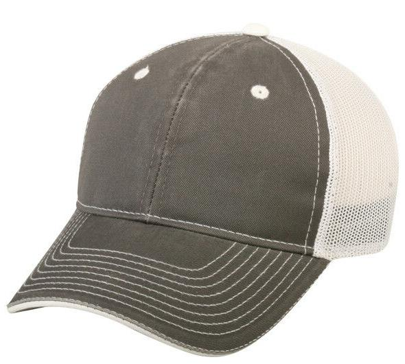 High Quality Low Profile Wash 6 panel Charcoal White Snap Ba