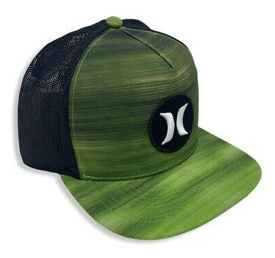 Hurley Block Party Fast Snapback Trucker Hat Cap Green Black