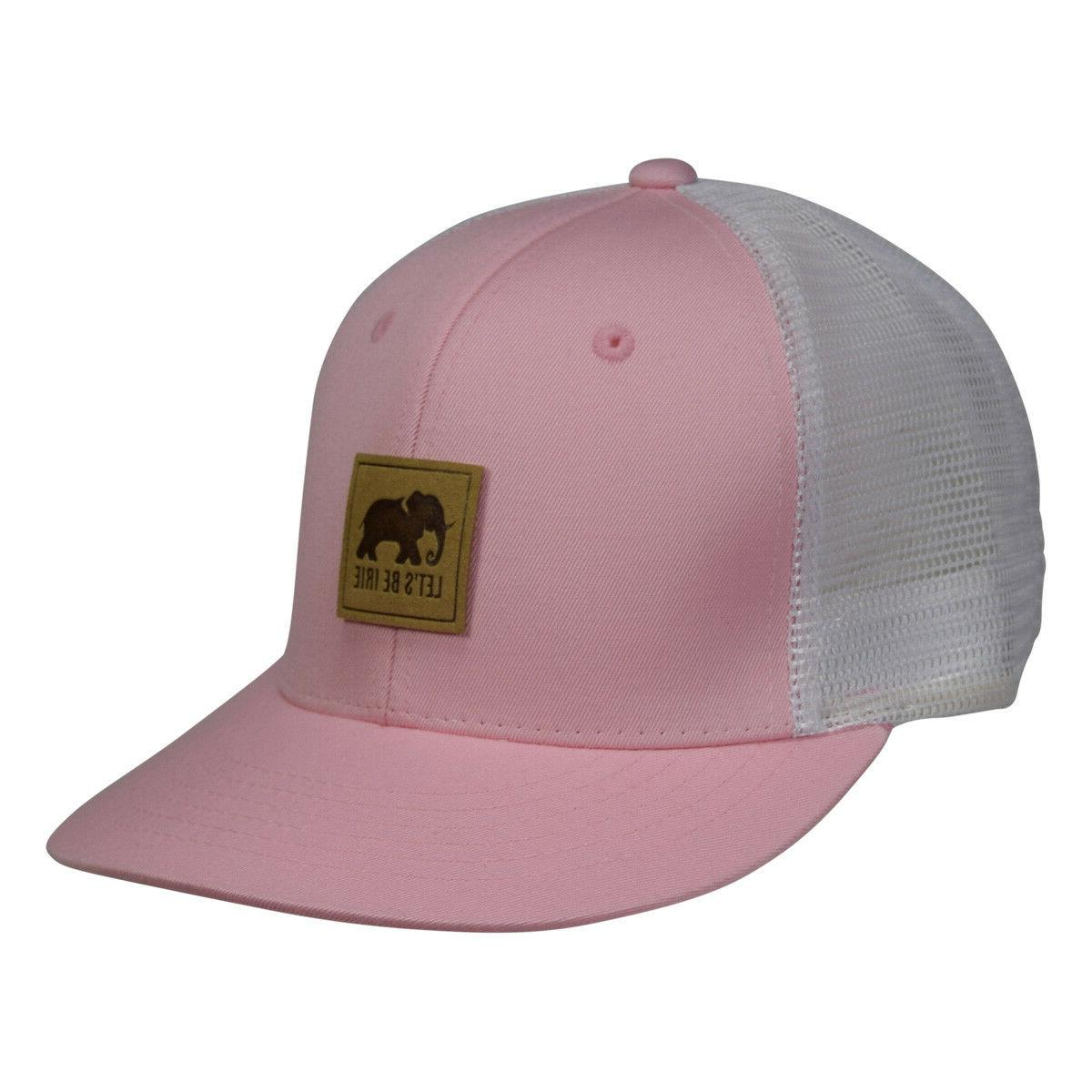 LET'S BE IRIE Elephant Trucker Hat - Pink and White Snapback