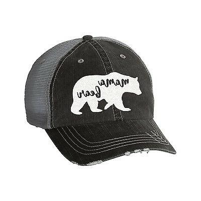 Mama Bear Distressed Glitter Ladies Trucker Hat - Baseball C