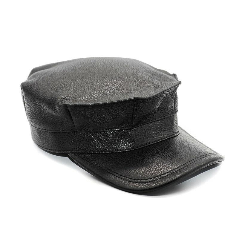 Mens Black Army Military Dad Patent Genuine Leather Hat Truc