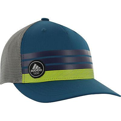 3f51c79c NEW Adidas Golf Stripe Trucker ClimaCool Blue/Yellow Adjusta