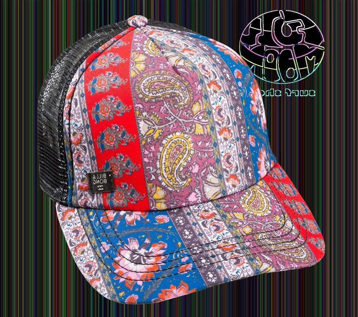 New Billabong Heritage Mashup Paisley Womens Trucker Snapbac
