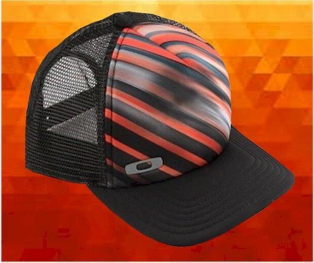 0d0a58eb06d New Oakley Orange Black Stripe Graphic Foam Trucker Mens Hat