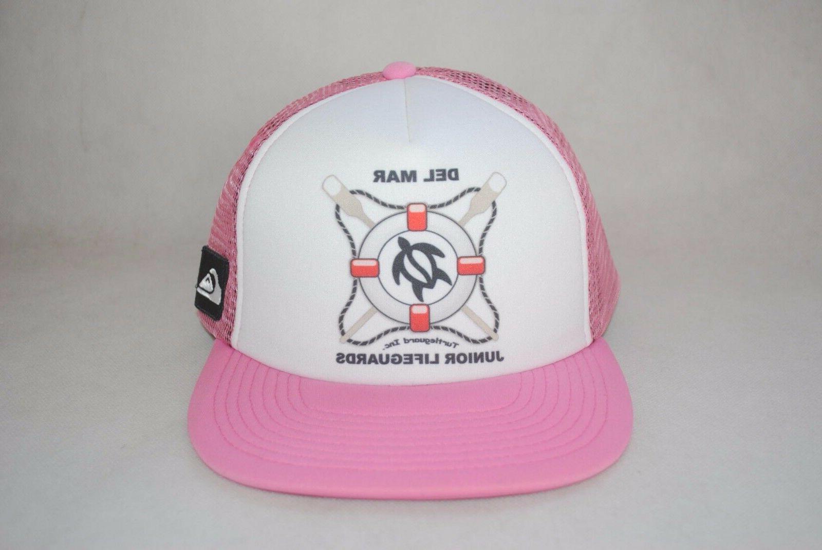 New Quiksilver Women's Pink Mesh Back Flat Brim Hat Cap Adju