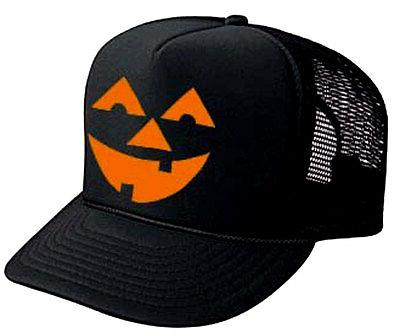 Pumpkin Head Halloween Costume Snapback Mesh Trucker Hat Cap