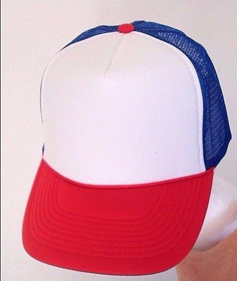 Dustin from STRANGER THINGS Red White /& Blue HAT Trucker Cap 80s ADJUSTABLE