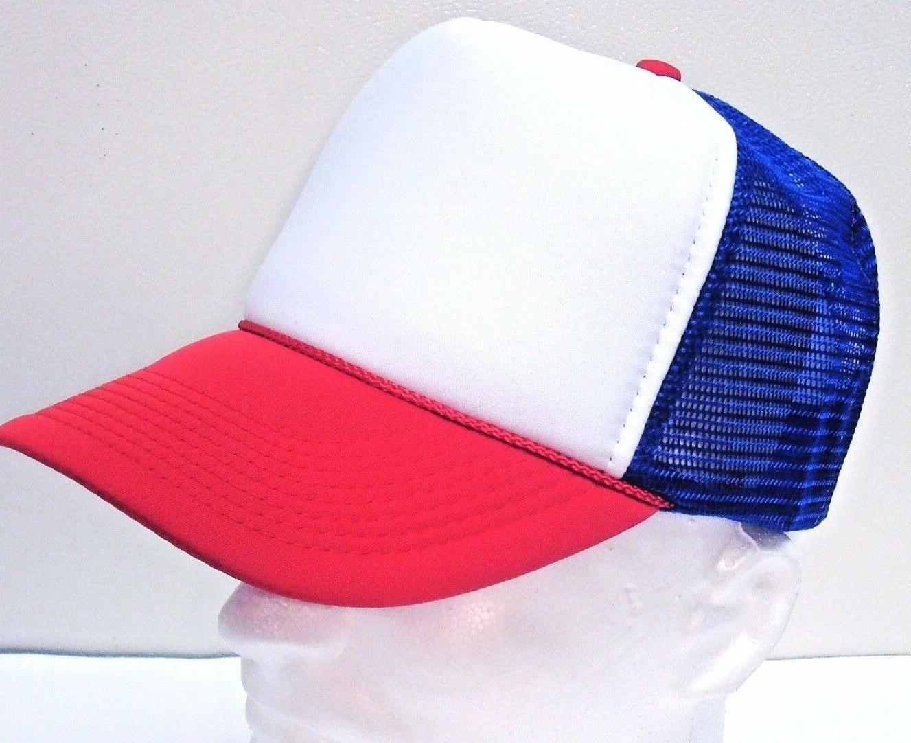 STRANGER THINGS Red White Blue Hat Trucker Cap 80s Adjustabl