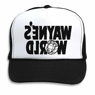WAYNE'S WORLD HAT Black White Mesh TRUCKER Cap WAYNE GARTH 9