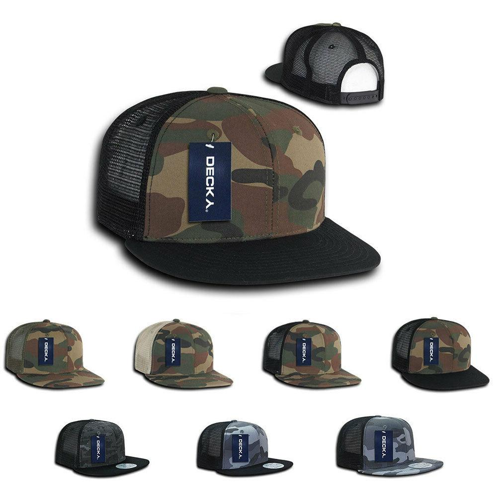 Decky Army Camouflage Camo Flat Bill Trucker Hats Caps 6 Pan