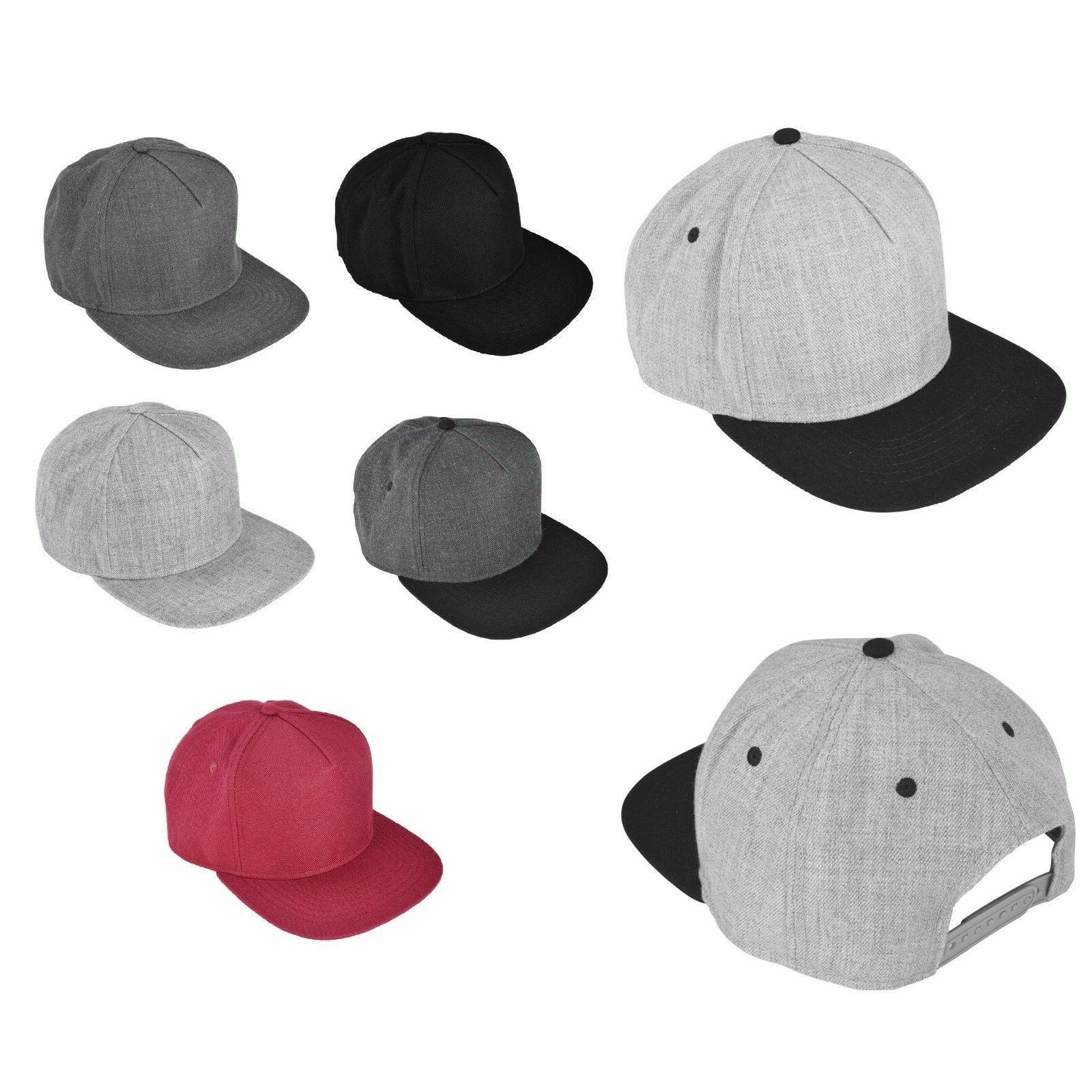 DALIX Baseball Cap Wool Hat Flat Bill Cap Urban Snapback Gra